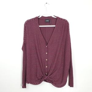 Urban Outfitters Striped Button Front Knot…